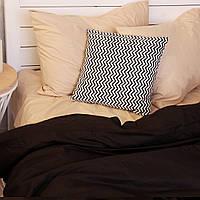 Постельное белье полуторное поплин PF035 черный/крем-брюле Хлопковые традиции, фото 1