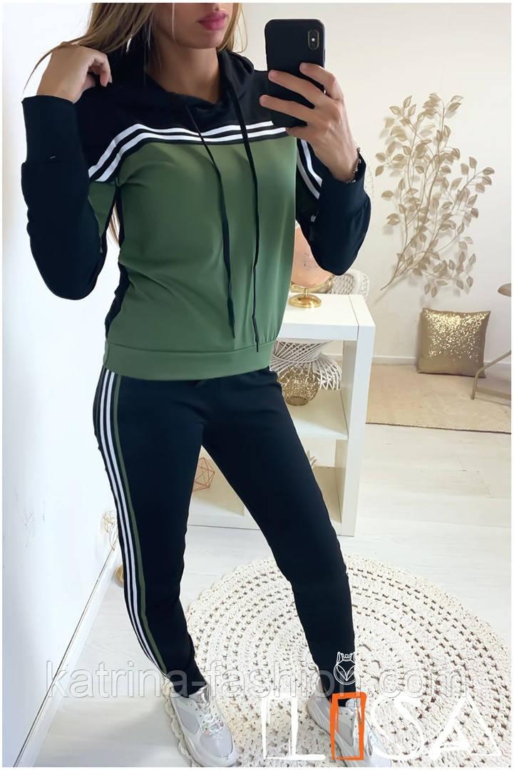 Женский стильный спортивный костюм с ламапасами-полосками (в расцветках)