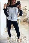 Женский стильный спортивный костюм с ламапасами-полосками (в расцветках), фото 3