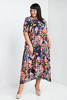 Яркое летнее платье в цветочный принт Галатея батал