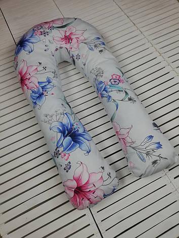 """Подушка для беременных, подушка обнимашка Подкова """"Лилии"""", фото 2"""