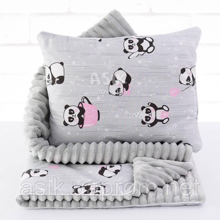 Плед и подушка с пандами в розовых чашках серого цвета