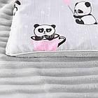 Плед и подушка с пандами в розовых чашках серого цвета, фото 3