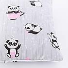 Плед и подушка с пандами в розовых чашках серого цвета, фото 5