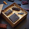 """Подарунковий набір шкіряних аксесуарів """"Medina"""": портмоне, ключниця, візитниця і брелок, фото 2"""