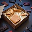 """Подарунковий набір шкіряних аксесуарів """"Medina"""": портмоне, ключниця, візитниця і брелок, фото 3"""
