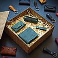 """Подарунковий набір шкіряних аксесуарів """"Medina"""": портмоне, ключниця, візитниця і брелок, фото 6"""
