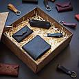 """Подарунковий набір шкіряних аксесуарів """"Medina"""": портмоне, ключниця, візитниця і брелок, фото 8"""
