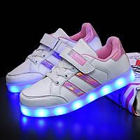 White pink step, Белые с розовым светящиеся кроссовки LED (USB подзарядка), размер 25-36 (LK 1025)