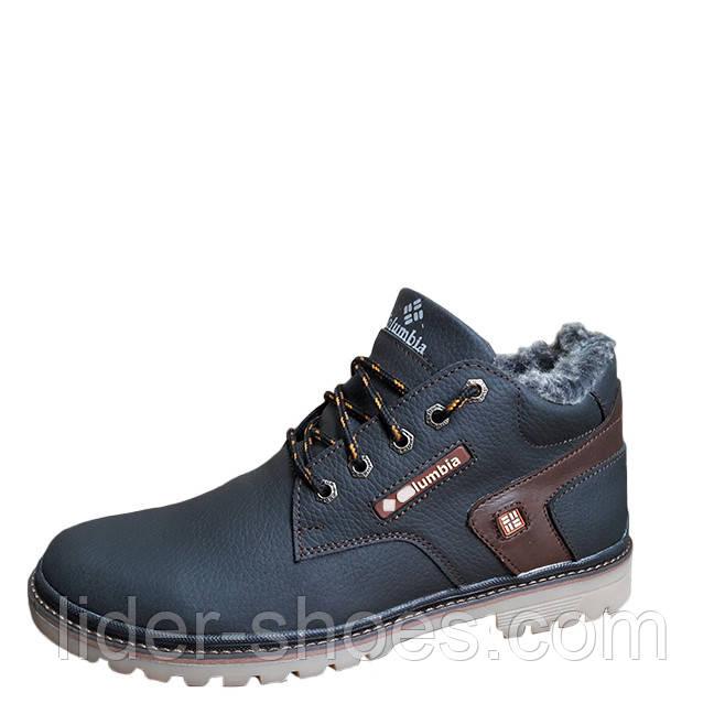 Кожаные мужские ботинки на меху черные