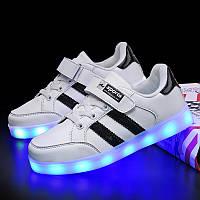 White black step, Белые с черным светящиеся кроссовки LED (USB подзарядка), размер 25-37 (LK 1026)
