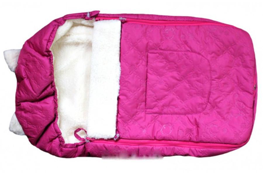 Детский меховой конверт на овчине зимний в коляску розовый