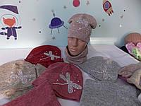 "Комплект ангора двойная на ФЛИСЕ  ""БЕЛАЯ СТРЕКОЗА"" шапка и баф,снуд размер 52-56 подросток., фото 1"