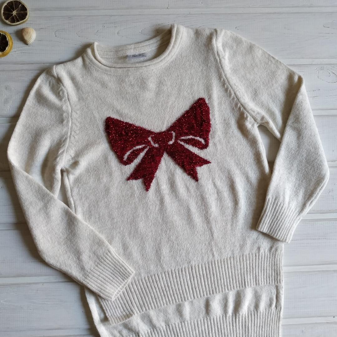✅Кофта вязанная для девочки молочная. нарядный свитер Размеры 134 140