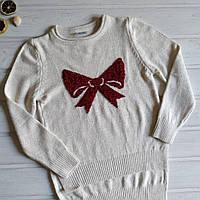 ✅Кофта вязанная для девочки молочная. нарядный свитер Размеры 134 140, фото 1