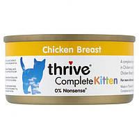 Thrive Complete Kitten Chicken - Трайв Полнорационный Консервированный Влажный Корм для Котят Куриное Филе 75г