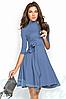 Демисезонное платье делового стиля выше колен рукав 3/4 расклешенная юбка цвет электрик, фото 3