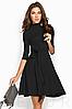 Демисезонное платье делового стиля выше колен рукав 3/4 расклешенная юбка цвет электрик, фото 4
