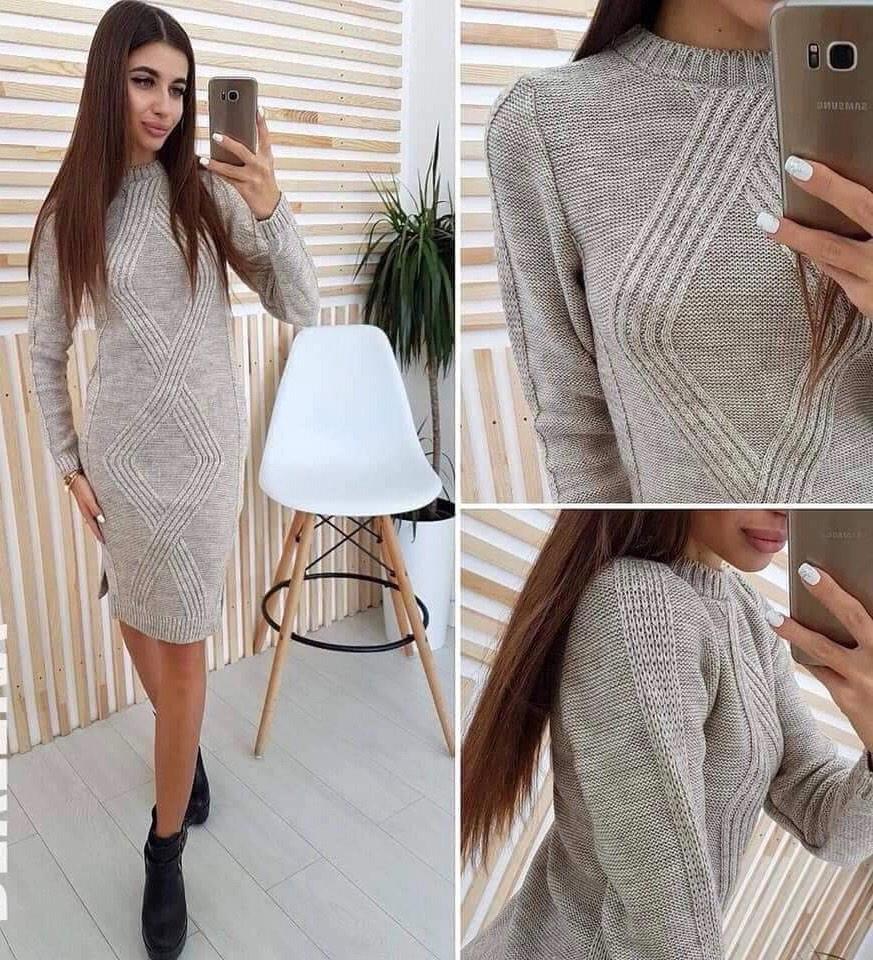 Женское платье из теплой вязки 44-46 (в расцветках)