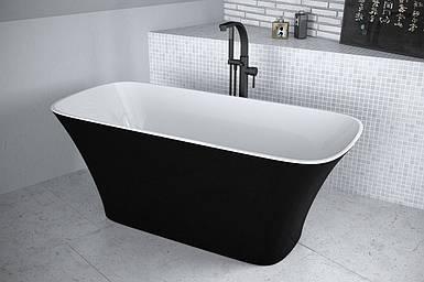 Ванна з штучного мрамору Besco Assos B&W 160x70 чорна-біла з сифоном