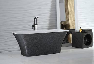 Ванна з штучного мрамору Besco Assos Glam 160x70 срібна з сифоном
