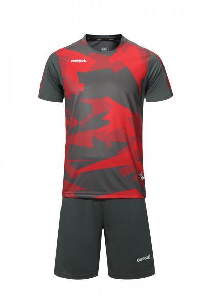 Футбольная форма Europaw 022 серо-красная