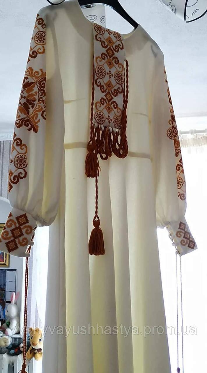 Свадебное платье в современном украинском стиле.