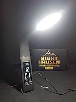 Современная настольная led лампа с часами черная 6W