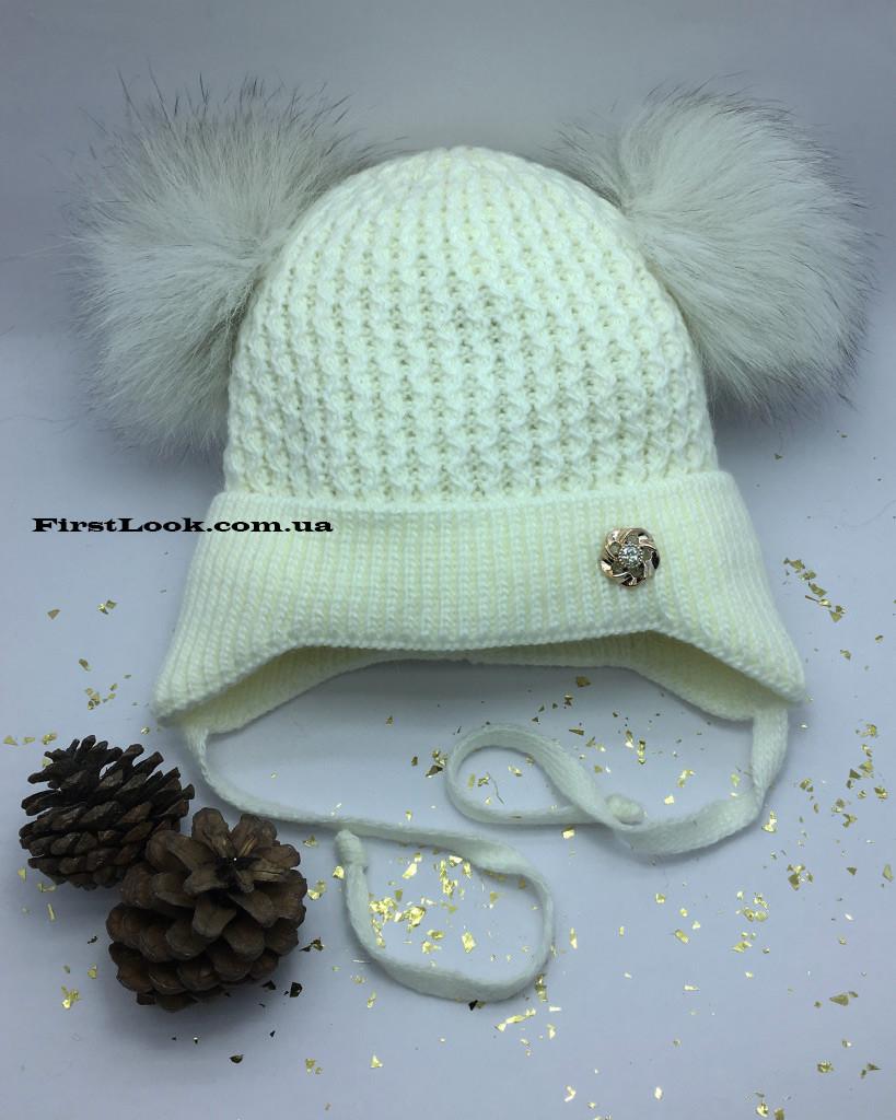 Детская зимняя вязаная шапка на девочку(2-3 года)