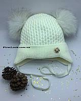 Детская зимняя вязаная шапка на девочку(2-3 года), фото 1