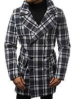 Мужское пальто двубортное серого цвета в клетку