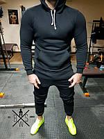 Мужской спортивный костюм утепленный на флисе черного цвета с капюшоном