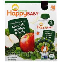 """Nurture Inc. (Happy Baby), """"Простые комбинации"""" из серии """"Органика для счастливого малыша"""", органическое детское питание со шпинатом, яблоком и"""