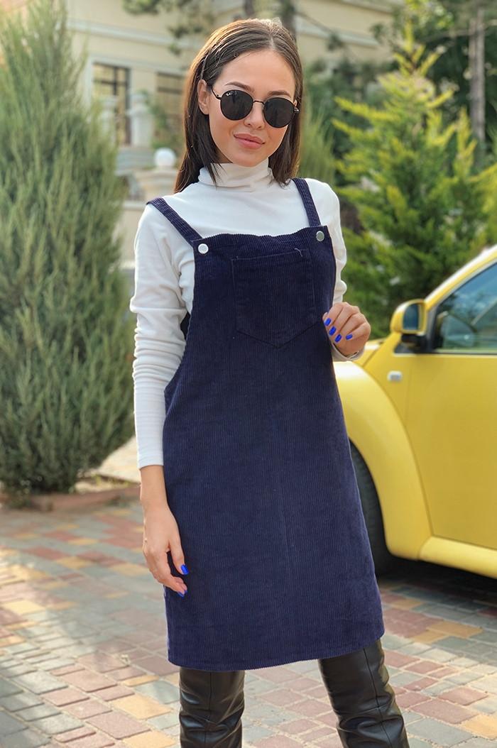 Стильный молодежный вельветовый сарафан на бретелях с карманом на груди
