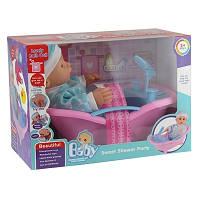 Кукла пупс в ванночке 7 Toys 3615 00-537. Розовая ванночка и пупс в голубом костюмчике и шапочке