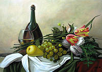 Картина в подарок Натюрморт с вином и фруктами