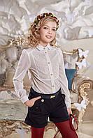 Блузка школьная с кружевом SUZIE Чарли молочная БЛ-22709