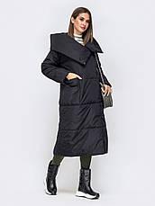 Уютная зимняя куртка-одеяло с объемными накладными карманами черний размер 44-46 48-50, фото 3