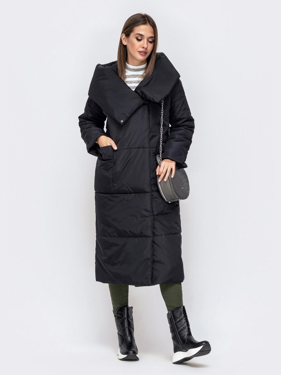 Уютная зимняя куртка-одеяло с объемными накладными карманами черний размер 44-46 48-50
