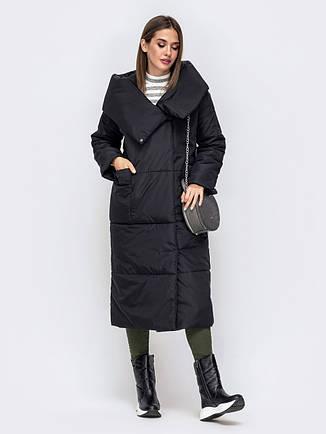 Уютная зимняя куртка-одеяло с объемными накладными карманами черний размер 44-46 48-50, фото 2