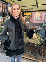Дубленка женская натуральная Adamo трапеция воротник стойка черно изумрудная