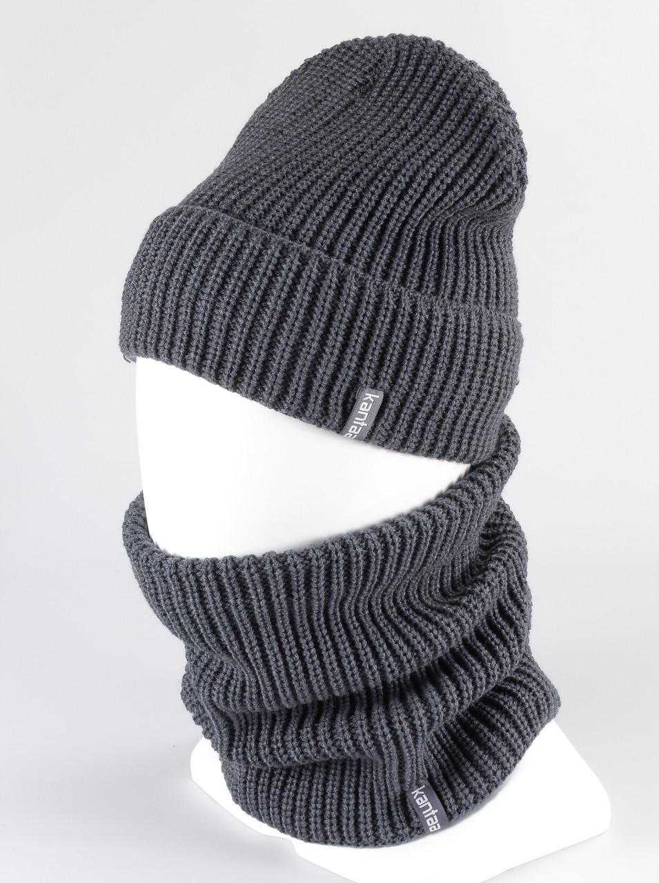 Комплект шапка бафф хомут KANTAA серый