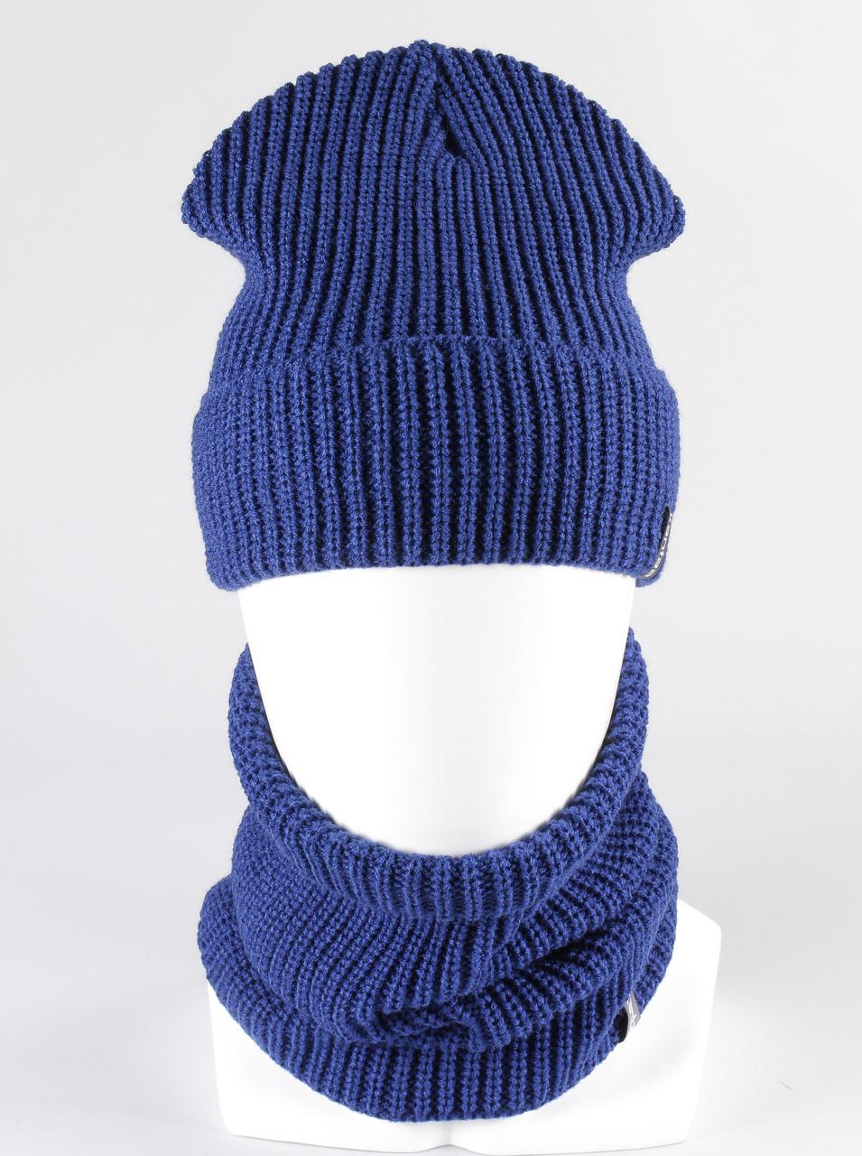 Комплект вязанный шапка шарф хомут KANTAA электрик
