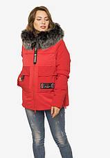 Укороченная зимняя куртка из плотной плащевой ткани красная размер 44-46 48-50 52-54, фото 3
