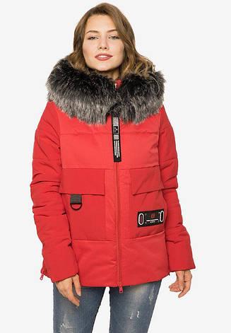 Укороченная зимняя куртка из плотной плащевой ткани красная размер 44-46 48-50 52-54, фото 2