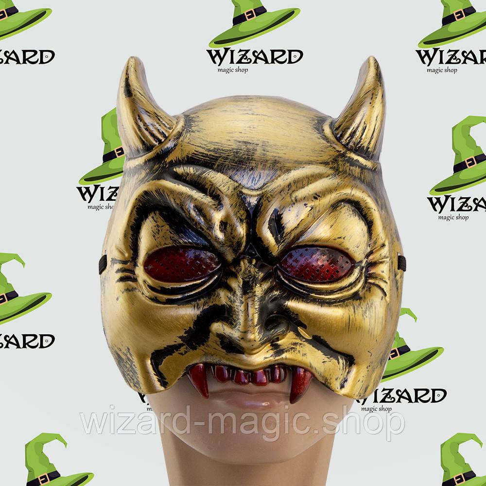 Полу маска Демон (золото)