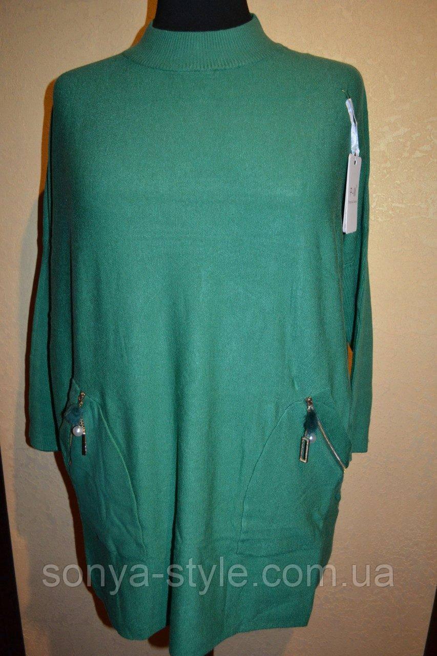 Женская туника  с молнией на карманах  больших размеров