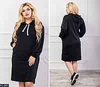 Платье двунить с карманами и капюшоном размеры 50-56 арт 083