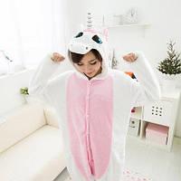 Пижама кигуруми Единорог белый с розовым