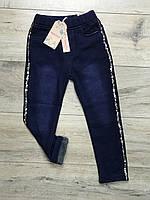 Утепленные джинсовые леггинсы на меху. С карманами. 4 года.